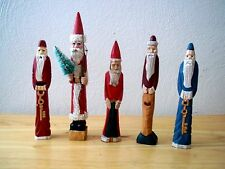 Lot of 5 Decorative Collectable Miniature Wood Carved Pencil Thin Santas