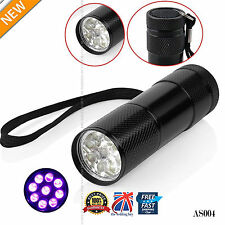 UV Ultra Violet 9LED Flashlight Money Checker Backlight Lamp Torch Light  AS004