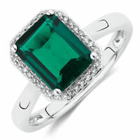 1.6ct Green Emerald Solitaire Halo Women Engagement Ring 14k White Gold Finish