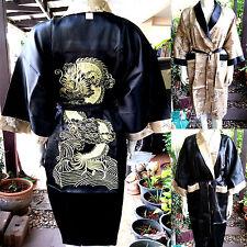 Asia Herren/Damen Wende-Kimono Japan/China Satin Bade-/Morgenmantel Gold Gr.L,XL