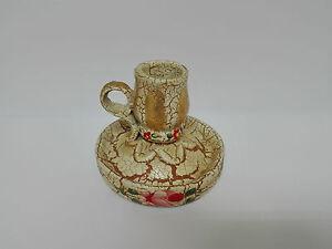 Palmatoria de Resina o Ceramica pintada a mano y con preciosa decoracion.