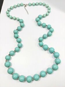 Silver Tone Turquoise Blue Graduated Acrylic Round Bead 40 Inch Necklace