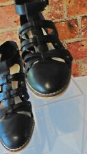 ASOS BLACK LEATHER STRAPPY FRONT BLOCK HEELED SHOES SIZE 4 REF: JJ