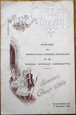 Menu: French 1946 Wedding w/Lunch & Dinner, Varneville-Bretteville