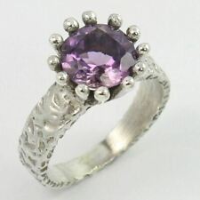 Tribal Jewelry Ring Size US 7.25 Original AMETHYST Gemstone 925 Sterling Silver
