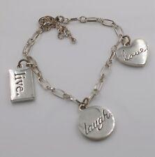 Live Laugh Love Heart Figural Charm Chain Link Bracelet
