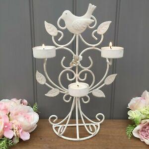 Cream Metal 3 Tea Light Holder Love Birds Home,Wedding Shabby Vintage Style.