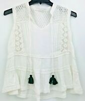 Mango Top Size Small White With Green Tassels Knitted Sleeveless Shirt Small