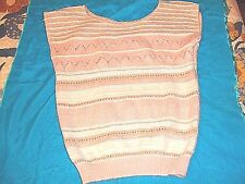 WOMAN'S KNIT SLEEVELESS SHELL  PULL OVER SWEATER OPEN WEAVE KNIT STRIPES SIZE M
