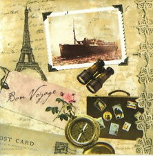 4x Single Table Paper Napkins for Party, Decoupage, Vintage Bon Voyage Paris