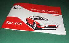 Manuale uso e manutenzione Fiat X1/9 X19 prima serie 4 marce