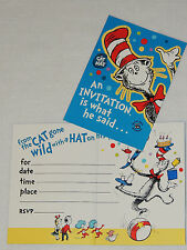 NEW CAT IN THE HAT 8-INVITATIONS  W/ENVELOPES PARTY SUPPLIES