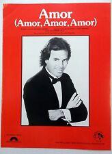 JULIO IGLESIAS Sheet Music AMOR Columbia Pict. Publ. 80's POP LATIN vocal