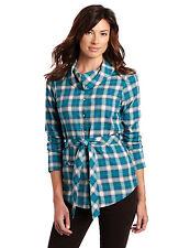 Lolë COTTON Poly WOOL Belt SHAWL Collar LONG Sleeve SHIRT Top WOMENS sz 8 Medium