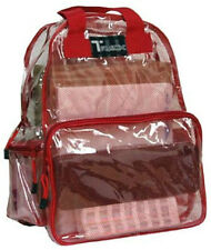 CLEAR Backpack  Red See Through Security Jelly Plastic Sports School Travel PVC