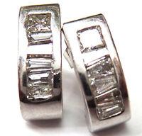 14K White Gold Moissanite Huggie Earrings
