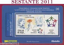 TESSERA FILATELICA FRANCOBOLLO LE ISTITUZIONI SERVIZIO CIVILE NAZIONALE 2003 E6
