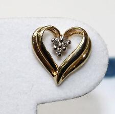 Yellow Gold Heart Stud Diamond Earrings NEW