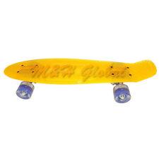 Short Board Transparent Skateboard Cruiser Light Up Wheels - Clear Yellow