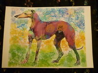 Greyhound Art Print A4 Greyhound Lurcher Art Bargain Price Surplus Stock