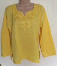 NEW YELLOW EMBROIDERY COTTON LONG SLEEVE ETHNIC BOHO BLOUSE TUNIC TOP SIZE 8/16