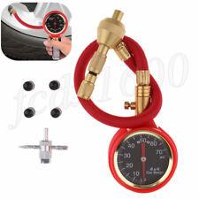 Analog Car Tire Pressure Gauge Air Bleeder Deflator Valve Tool 75psi Universal