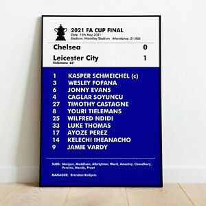 Leicester City 2021 FA Cup Final Match Poster Photo Print Leicester Memorabilia