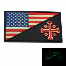 USA Flag Jerusalem Cross Crusader Morale Patch (GLOW DARK 3D-PVC Rubber)