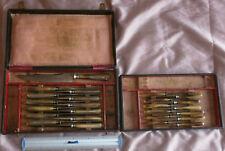 Coffret Napoléon III / fin XIXème : 25 couteaux manche corne & lame acier 2x12+1