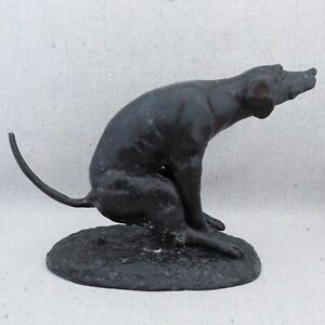 Vintage Solid Bronze Sculpture Pooping Defecating Dog Adriano Cecioni Style