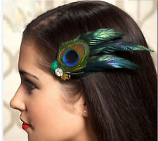 UK1920's Flapper Green Peacock feather Diamante   Clip Fascinator Hairdress Wed