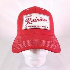 1ec3a8cacd3 Tacoma Rainiers Patch Trucker mesh Hat Red White Ball Cap minor baseball H3