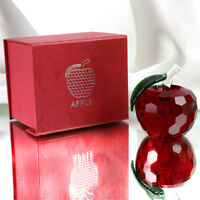 Crystal Red Apple Figurines Glass Paperweight Art Collectibles with Gift Box