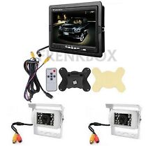 "Kit retromarcia camper furgone Camion Monitor 7"" doppia telecamera a colori cavi"