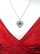 Ladies Girl Pendant Necklace Red Heart Crystal Gothic Retro Style Silver Pewter