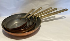More details for vintage copper frying / sauté pans with brass handles set of 5