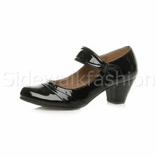 Womens Ladies Low Mid Heel Comfort Mary Jane Strap Hook & Loop Court Shoes Size UK 6 / EU 39 / US 8 Black Patent