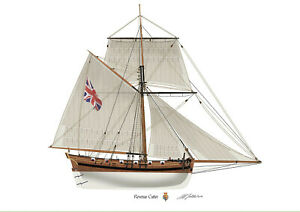 British Revenue Cutter 1799 smuggling customs Profile Artwork A3 Print