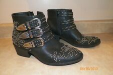SHOEDAZZLE Kalene Black Ankle Boots Studs Belts Buckles  8.5M