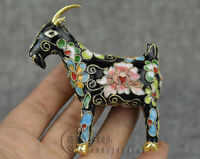 Handmade 1970s Chinese Enamel Cloisonne Flower Thread Weaving Goat Figurine