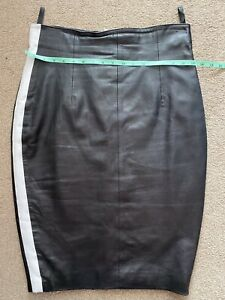 Crazy Outfits Black With Stripe High Waist Leather Pencil Skirt S16
