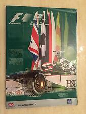 Foster's British Grand Prix 2000 F1 Fórmula Uno SILVERSTONE programa