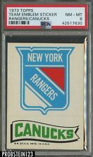 1973 Topps Team Emblem Sticker Rangers Canucks PSA 8 NM-MT