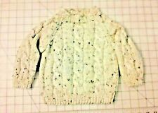 Soft & Warm Hand Knit Ivory Tweed Child's Raglan Sleeve Cabled Pullover Sweater