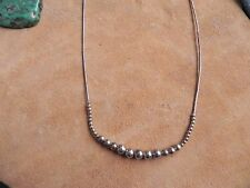 """Round Sterling Silver beads & Liquid Silver Necklace 16 3/4"""" Navajo"""