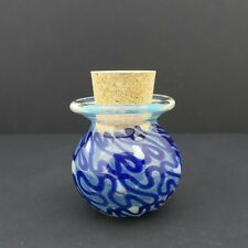 Glass Jar Hand Blown Blue Squiggle Fitted Cork Collectible Trinket Container
