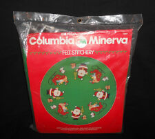 "Vtg New Columbia Minerva Wispy Santa 45"" Christmas Tree Skirt Felt Applique Kit"