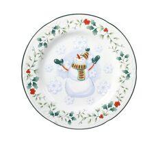 """PFALTZGRAFF Winterberry 8"""" Accent Salad / Dessert Plate, First Snow Snowman -NEW"""
