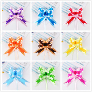 100 X Dichromatic Pull Bows Ribbon for Gift Packing Wedding Party Festival
