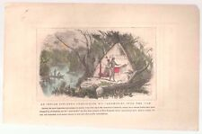 """1857 Hand Colored Art Print Engraving """"An Indian Sorcerer Performing Ceremonies"""""""